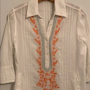 SOFT SURROUNDINGS White Embroidered Tunic
